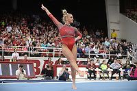 Arkansas' Sarah Shaffer competes Friday, Feb. 7, 2020, in the floor portion of the Razorbacks' meet with Georgia in Barnhill Arena in Fayetteville. Visit  nwaonline.com/gymbacks/ for a gallery from the meet.<br /> (NWA Democrat-Gazette/Andy Shupe)