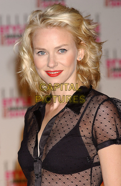 NAOMI WATTS.Elle Style Awards at the Natural History Museum.16 February 2004.headshot, portrait, bra, underwear, see through, red lipstick, make-up.www.capitalpictures.com.sales@capitalpictures.com.©Capital Pictures