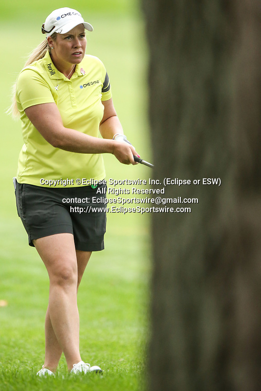 Brittany Lincicome hits her ball on the 3rd fairway at the LPGA Championship 2014 Sponsored By Wegmans at Monroe Golf Club in Pittsford, New York on August 16, 2014