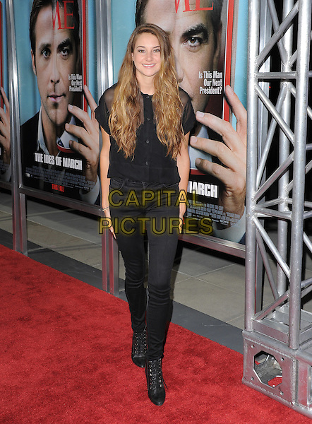 Shailene Woodley.The L.A. Premiere of 'The Ides of March' held at The Academy of Motion Picture Arts & Sciences  in Beverly Hills, California, USA..September 27th, 2011.full length shirt blouse jeans denim black sheer.CAP/RKE/DVS.©DVS/RockinExposures/Capital Pictures.