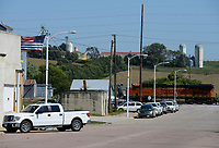 USA, Nebraska, Omaha Reservation, town Walthill, railway crossing, BNSF locomotive