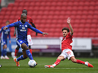 4th July 2020; Ashton Gate Stadium, Bristol, England; English Football League Championship Football, Bristol City versus Cardiff City; Jamie Paterson of Bristol City competes for the ball with Leandro Bacuna of Cardiff City