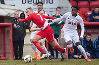 Mehdi Zerkane of AS Monaco FC Youth & Edmond-Paris Maghoma of Spurs U19 during the UEFA Youth League round of 16 match between Tottenham Hotspur U19 and Monaco at Lamex Stadium, Stevenage, England on 21 February 2018. Photo by Andy Rowland.