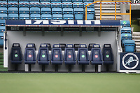 Red crosses and green ticks on the seats in the away dugout to indicate which are in use during Millwall vs Swansea City, Sky Bet EFL Championship Football at The Den on 30th June 2020