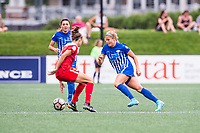 Boston, MA - Saturday July 01, 2017: Havana Solaun and Rosie White during a regular season National Women's Soccer League (NWSL) match between the Boston Breakers and the Washington Spirit at Jordan Field.