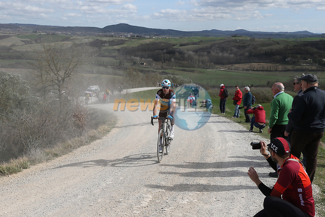 Alexandre Geniez (FRA) AG2R La Mondiale on sector 8 Monte Santa Maria during Strade Bianche 2019 running 184km from Siena to Siena, held over the white gravel roads of Tuscany, Italy. 9th March 2019.<br /> Picture: Eoin Clarke | Cyclefile<br /> <br /> <br /> All photos usage must carry mandatory copyright credit (© Cyclefile | Eoin Clarke)