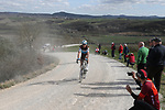 Alexandre Geniez (FRA) AG2R La Mondiale on sector 8 Monte Santa Maria during Strade Bianche 2019 running 184km from Siena to Siena, held over the white gravel roads of Tuscany, Italy. 9th March 2019.<br /> Picture: Eoin Clarke | Cyclefile<br /> <br /> <br /> All photos usage must carry mandatory copyright credit (&copy; Cyclefile | Eoin Clarke)