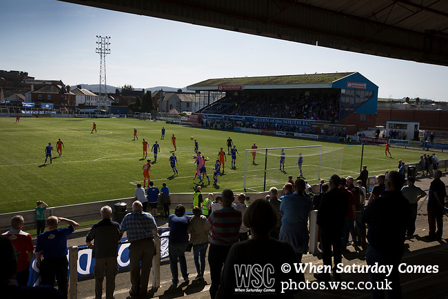 Home fans in the shed watching the first-half action at Palmerston Park, Dumfries as Queen of the South (in blue) hosted Dundee United in a Scottish Championship fixture. The home has played at the same ground since its formation in 1919. Queens won the match 3-0 watched by a crowd of 1,531 spectators.