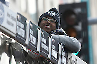 February 4, 2015 - Boston, Massachusetts, U.S. -  New England Patriots wide receiver Matthew Slater (18) rides a duck boat during a parade held in Boston to celebrate the team's victory over the Seattle Seahawks in Super Bowl XLIX. Eric Canha/CSM