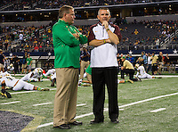 Brian Kelly and ASU coach Todd Graham (formerly of ND opponents Tulsa and Pitt) chat before kickoff.