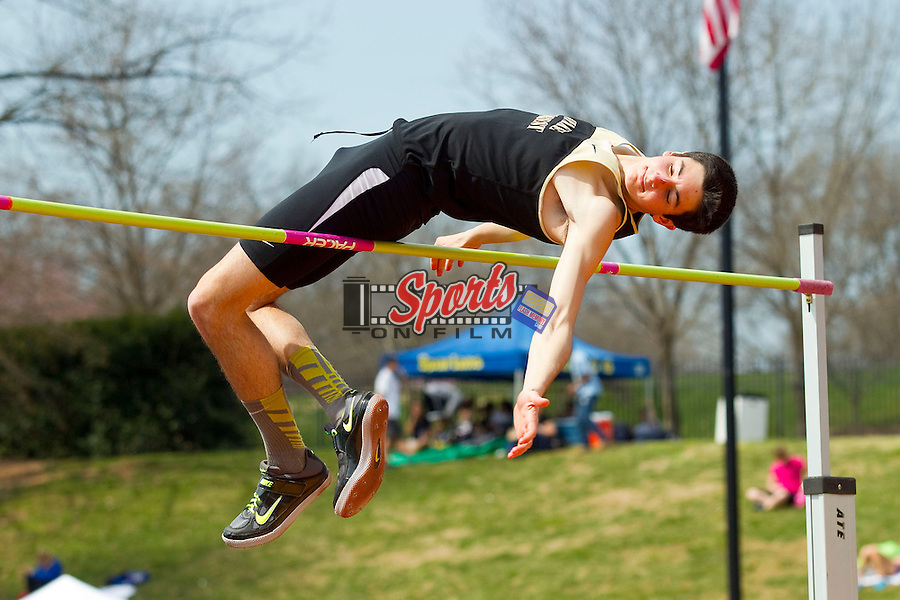 Michael Rufrano set a new personal best in the high jump with a leap of 6-4.25 (1.94m) at the Wake Forest Open on March 16, 2013 in Winston-Salem, North Carolina.  (Brian Westerholt/Sports On Film)