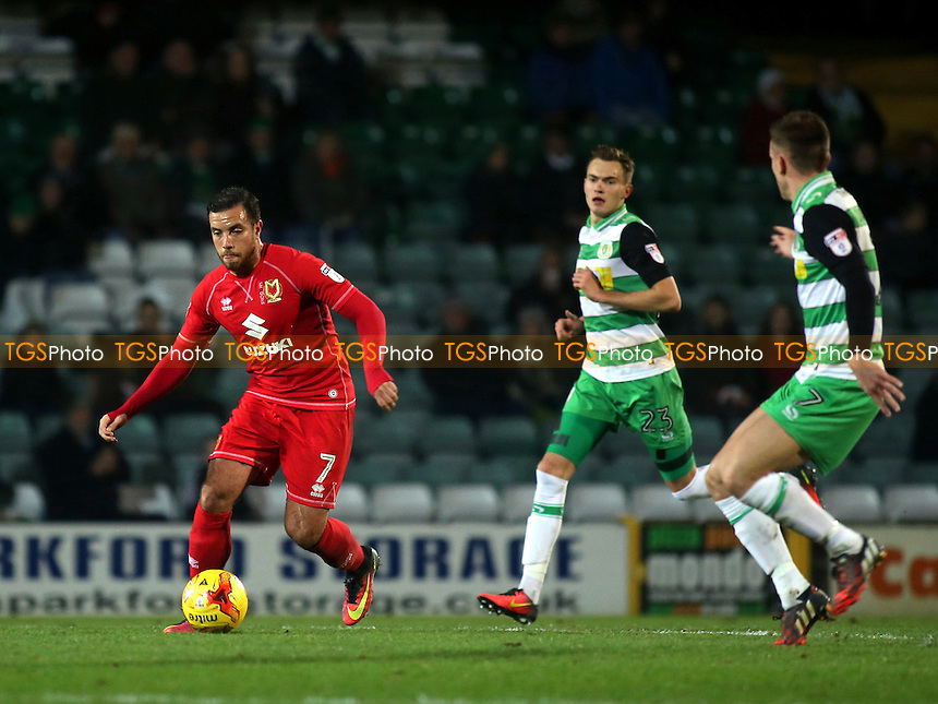 Samir Carruthers of MK Dons in action during Yeovil Town vs MK Dons, Checkatrade Trophy Football at Huish Park on 6th December 2016