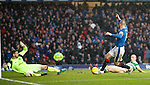 Kenny Miller misses a chance to score as he mis-hits the ball in front of goal