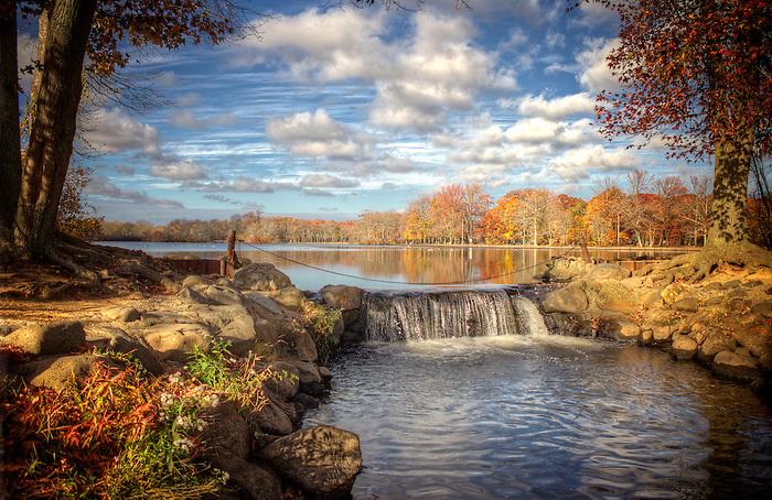 Belmont Lake State Park Waterfall In November Babylon