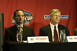 12 November 2004: MLS Commissioner Don Garber (left) and Kansas City Wizards head coach Bob Gansler (right). Major League Soccer held their annual pre-MLS Cup press conference at the Home Depot Center in Carson, CA two days before the Kansas City Wizards were scheduled to play DC United in the league's annual championship game..