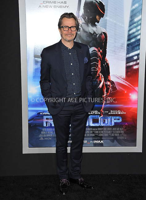 WWW.ACEPIXS.COM<br /> <br /> February 10 2014, New York City<br /> <br /> Gary Oldman arriving at the Los Angeles premiere of 'Robocop' at TCL Chinese Theatre on February 10, 2014 in Hollywood, California<br /> <br /> By Line: Peter West/ACE Pictures<br /> <br /> <br /> ACE Pictures, Inc.<br /> tel: 646 769 0430<br /> Email: info@acepixs.com<br /> www.acepixs.com