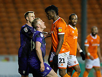 Blackpool's Armand Gnanduillet squares up to Tranmere Rovers' Mark Ellis<br /> <br /> Photographer Alex Dodd/CameraSport<br /> <br /> The EFL Sky Bet League One - Blackpool v Tranmere Rovers - Tuesday 10th March 2020 - Bloomfield Road - Blackpool<br /> <br /> World Copyright © 2020 CameraSport. All rights reserved. 43 Linden Ave. Countesthorpe. Leicester. England. LE8 5PG - Tel: +44 (0) 116 277 4147 - admin@camerasport.com - www.camerasport.com
