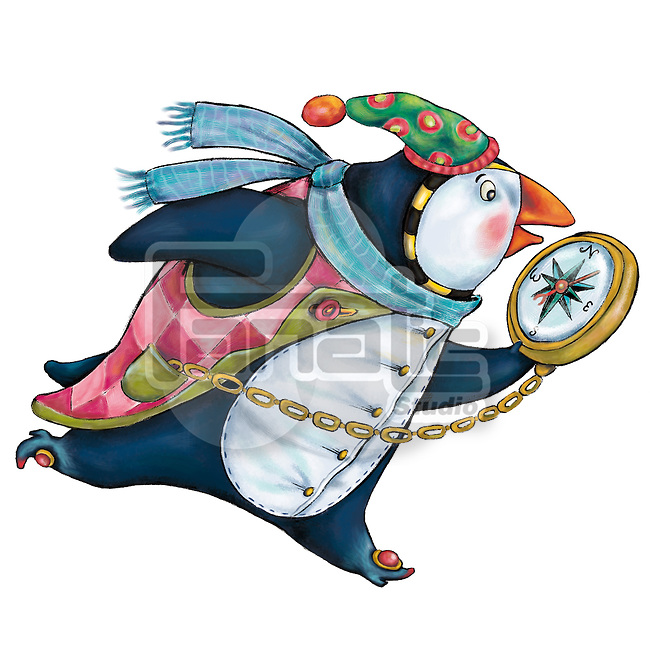 Illustrative image of penguin holding pocket watch while running representing deadline
