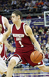 Klay Thompson (#1), Washington State super-freshman, drives towards the basket during the Cougars Pac-10 conference showdown with the University of Washington on March 7, 2009, in Seattle, Washington.  Both teams came in to the game on a roll, and in a hard fought battle, the Huskies prevailed 67-60 to wrap up the regular season Pac-10 championship.