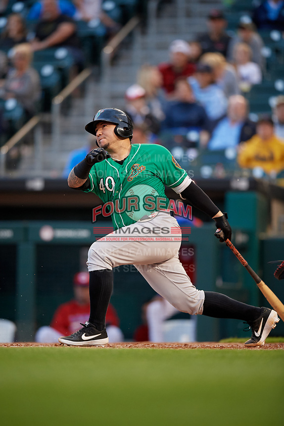 Norfolk Tides Jesus Sucre (40) at bat during an International League game against the Buffalo Bisons on June 21, 2019 at Sahlen Field in Buffalo, New York.  Buffalo defeated Norfolk 1-0, the second game of a doubleheader.  (Mike Janes/Four Seam Images)
