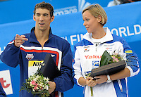 Roma 2nd August 2009 - 13th Fina World Championships From 17th to 2nd August 2009....Swimming finals..Michael Phelps (USA) and Federica Pellegrini (ITA) awarded with the Fina Swimmer of Roma09 World Championships....photo: Roma2009.com/InsideFoto/SeaSee.com