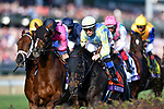 November 3, 2018: The field heads to the first turn in the Longines Breeders' Cup Turf on Breeders' Cup World Championship Saturday at Churchill Downs on November 3, 2018 in Louisville, Kentucky. Michael McInally/Eclipse Sportswire/CSM