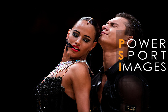 Roman Gerbey and Vera Bondareva of Ukraine during the WDSF GrandSlam Latin on the Day 1 of the WDSF GrandSlam Hong Kong 2014 on May 31, 2014 at the Queen Elizabeth Stadium Arena in Hong Kong, China. Photo by AItor Alcalde / Power Sport Images