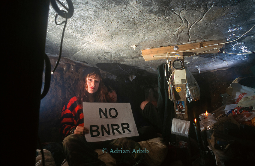 A tunnel at the BNRR ( Birmingham Northern Relief Road)  ( M6)  road  protest.