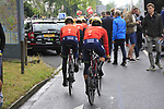 Bahrain-Merida riders head out on course before Stage 1, a 14km individual time trial around Dusseldorf, of the 104th edition of the Tour de France 2017, Dusseldorf, Germany. 1st July 2017.<br /> Picture: Eoin Clarke | Cyclefile<br /> <br /> <br /> All photos usage must carry mandatory copyright credit (&copy; Cyclefile | Eoin Clarke)