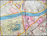 BNPS.co.uk (01202 558833)<br /> Pic: Bosleys/BNPS<br /> <br /> Battersea Power station (58 on map) a key target which provided electricity to the city with the Duke of Yorks headquarters top left.<br /> <br /> An extremely rare map of German bombing targets in London in the Second World War has been unearthed after more than 75 years.<br /> <br /> It belonged to a Luftwaffe navigator and highlights important buildings and targets in central and south London, including Battersea Power Station and Chelsea Barracks. <br /> <br /> Other notable targets were Duke of York's headquarters and Fulham Palace, the home of the Bishop of London.<br /> <br /> The map, which focuses on Kensington, Wimbledon and Fulham, is dated from November 30, 1941, 14 months after the Germans began their Blitz bombing campaign on British cities. <br /> <br /> It was found in the loft of a late Second World War air gunner and is believed to have come from the debris of a shot-down Luftwaffe.
