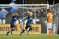 San Jose, CA - Saturday April 14, 2018: Magnus Eriksson  celebrates scoring  during a Major League Soccer (MLS) match between the San Jose Earthquakes and the Houston Dynamo at Avaya Stadium.