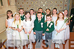 1st Communion Gael Scoil, Listowel,.Sophie Ni? Shiocriu?, Clodagh Ni? hAnna?in, Aaron O? Seighinn, Se?an O? Ci?osa?in,.Sadhbh Ni? Laoithe,..Back Row from left..Andrea Ni? Mhuireartaigh, Darragh O? Catha?in, Laura Ni? Chroidea?in, Michea?l O?.Failbhe, Rebecca Ni? Mhuireartaigh, Ciara Ni? Shuibhne, Lottie Nic Cha?rthaigh..Absent from photo..Jordan O? Deasu?naigh