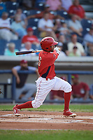 Williamsport Crosscutters shortstop Jonathan Guzman (6) follows through on a swing during a game against the Mahoning Valley Scrappers on August 28, 2018 at BB&T Ballpark in Williamsport, Pennsylvania.  Williamsport defeated Mahoning Valley 8-0.  (Mike Janes/Four Seam Images)