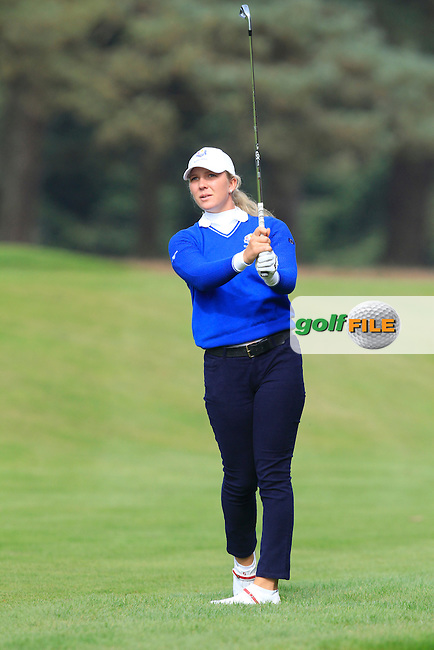 Linnea Strom (SWE) on the 1st hole of the Mixed Fourballs during the 2014 JUNIOR RYDER CUP at the Blairgowrie Golf Club, Perthshire, Scotland. <br /> Picture:  Thos Caffrey / www.golffile.ie