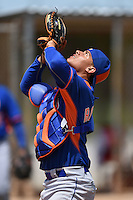 New York Mets catcher Dionis Rodriguez (5) during practice before a minor league spring training game against the St. Louis Cardinals on April 1, 2015 at the Roger Dean Complex in Jupiter, Florida.  (Mike Janes/Four Seam Images)