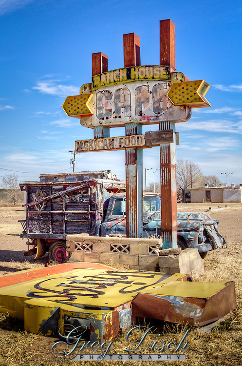 "Relics of more prosporus days in Tucumcari New Mexico, on Route 66. The old Ranch House Cafe in Tucumcari New Mexico, was opened in 1953 by Pearl and Dugan Barnett.  Thier slogan of ""Good Food Always-Always Good Food"" was not enough to keep the cafe open on the old Route 66."
