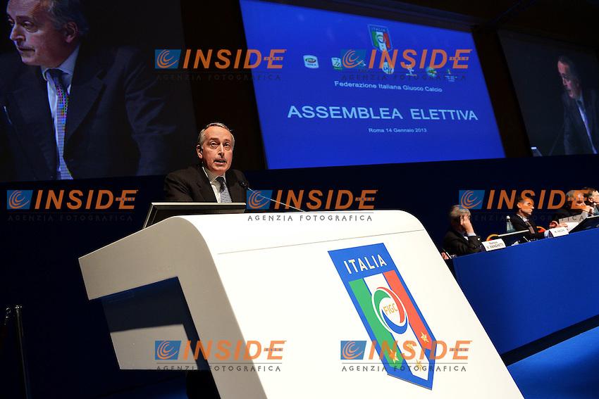 Giancarlo Abete Presidente FIGC .Roma 14/01/2013 Marriott Hotel.Assemblea Elettiva FIGC Federazione Italiana Gioco Calcio.Foto Andrea Staccioli Insidefoto