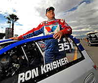 Oct. 31, 2008; Las Vegas, NV, USA: NHRA pro stock driver Ron Krisher during qualifying for the Las Vegas Nationals at The Strip in Las Vegas. Mandatory Credit: Mark J. Rebilas-