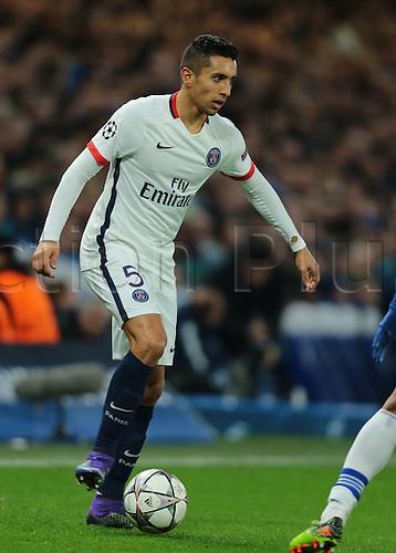 09.03.2016. Stamford Bridge, London, England. Champions League. Chelsea versus Paris Saint Germain. Paris St. Germain Defender Marquinhos on the ball