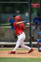 GCL Phillies East designated hitter Jack Conley (23) follows through on a swing during a game against the GCL Blue Jays on August 10, 2018 at Carpenter Complex in Clearwater, Florida.  GCL Blue Jays defeated GCL Phillies East 8-3.  (Mike Janes/Four Seam Images)