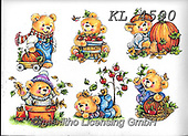 Interlitho-Theresa, CUTE ANIMALS, LUSTIGE TIERE, ANIMALITOS DIVERTIDOS, paintings+++++,6 bears,KL4590,#ac#, EVERYDAY ,sticker,stickers ,bear,bears ,autumn