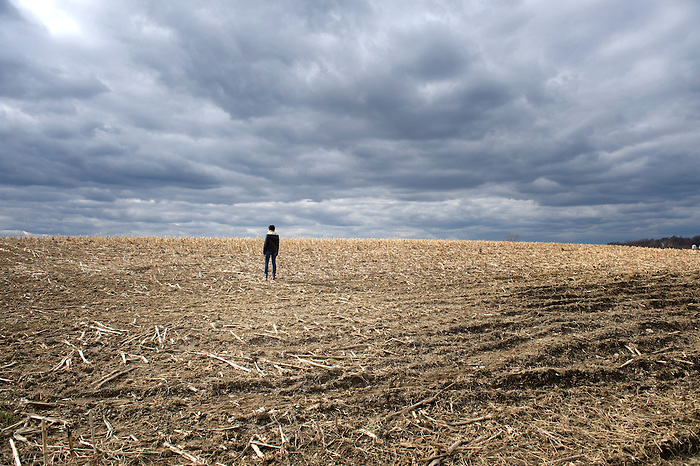 A Teenage African American Girl Standing in a Cornfield looking towards the Clouds