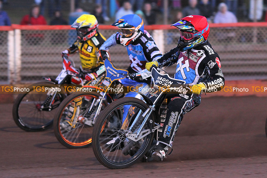 Lewis Bridger (red), Rory Schlein (blue) and Chris Harris (yellow) - Lakeside Hammers vs Coventry Bees - Elite League Speedway at Arena Essex - 23/08/14 - MANDATORY CREDIT: Gavin Ellis/TGSPHOTO - Self billing applies where appropriate - contact@tgsphoto.co.uk - NO UNPAID USE