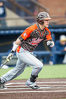 Bowling Green Falcons first baseman Logan Giddings (15) follows through on his swing against the Michigan Wolverines on April 6, 2016 at Ray Fisher Stadium in Ann Arbor, Michigan. Michigan defeated Bowling Green 5-0. (Andrew Woolley/Four Seam Images)