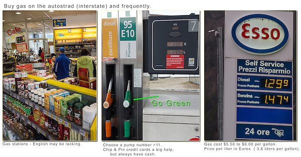Driving in Europe. Buying Gas.<br /> They don't expect you to be a tourist and they may not speak English. So, choose a pump number of 10 or less. Unless you have 11 fingers.<br /> Also, select the green colored handle for unleaded. Gas stations are not on every corner like in the USA, so fill-up when you can. And don't plan on buying gas on Sunday, unless you're on an 'interstate.'