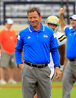 UCLA head coach Jim L. Mora during the game in Charlottesville, VA. Virginia lost to UCLA 28-20. Photo/Andrew Shurtleff