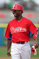Philadelphia Phillies shortstop Jimmy Rollins #11 during a scrimmage against the Florida State Seminoles at Brighthouse Field on February 29, 2012 in Clearwater, Florida.  Philadelphia defeated Florida State 6-1.  (Mike Janes/Four Seam Images)