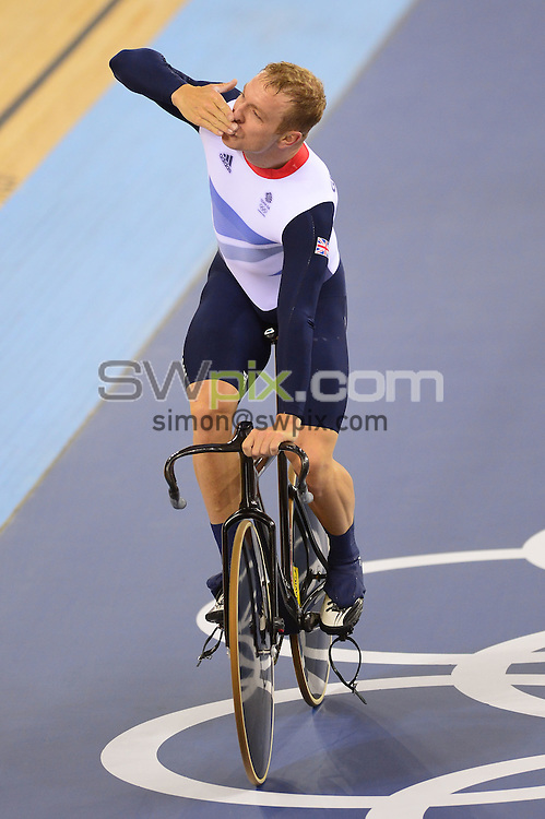 PICTURE BY ALEX BROADWAY /SWPIX.COM - Olympics - Day Six - Cycling - Velodrome, Olympic Park, London, England - 02/08/12 - Sir Chris Hoy reacts after winning gold in the Men's Team Sprint.