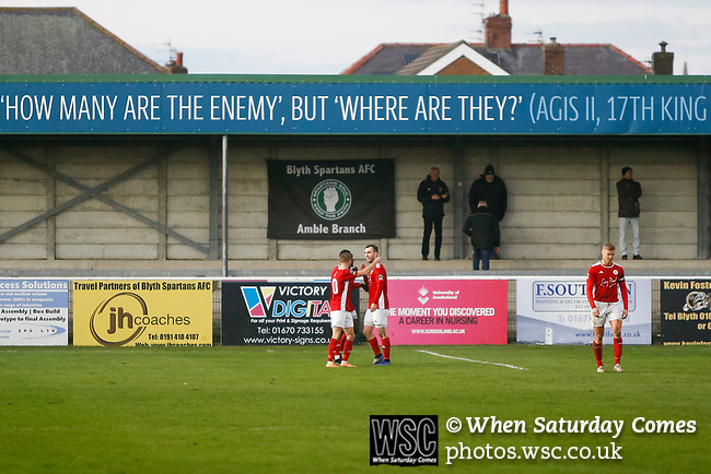 Brackley players a goal in front of a handful of Blyth fans. Blyth Spartans v Brackley Town, 30112019. Croft Park, National League North. Photo by Paul Thompson.