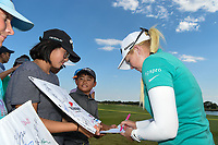 Stephanie Meadow (NIR) signs autographs for young fans following round 4 of the Volunteers of America Texas Classic, the Old American Golf Club, The Colony, Texas, USA. 10/6/2019.<br /> Picture: Golffile | Ken Murray<br /> <br /> <br /> All photo usage must carry mandatory copyright credit (© Golffile | Ken Murray)